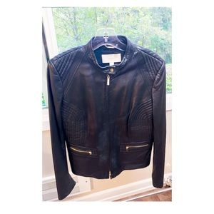 HUGO BOSS lamb leather jacket black Large size 10